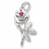 Sterling Silver Rose with Stone Charm by Rembrandt Charms
