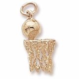 Gold Plated Basketball Hoop and Net Charm by Rembrandt Charms