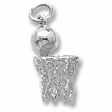 14K White Gold Basketball Hoop and Net Charm by Rembrandt Charms