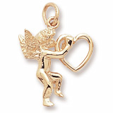 10K Gold Angel and Heart Charm by Rembrandt Charms