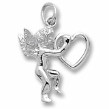 14K White Gold Angel and Heart Charm by Rembrandt Charms