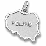 14K White Gold Poland Map Charm by Rembrandt Charms
