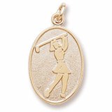 14k Gold Female Golfer Charm by Rembrandt Charms