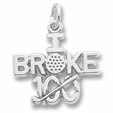 14K White Gold Golf Charm I Broke 100 by Rembrandt Charms