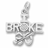14K White Gold Golf Charm I Broke Ninety by Rembrandt Charms