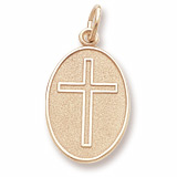 10K Gold Cross Oval Disc Charm by Rembrandt Charms