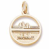 10K Gold Cincinnati Skyline Charm by Rembrandt Charms