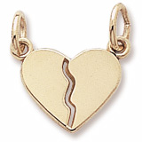 Gold Plated Small Breaks Apart Heart Charm by Rembrandt Charms