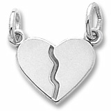 14K White Gold Small Breaks Apart Heart Charm by Rembrandt Charms