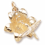 Gold Plate Hibiscus and Hummingbird Charm by Rembrandt Charms