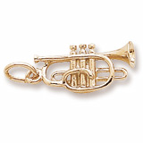 Gold Plate Cornet Charm by Rembrandt Charms