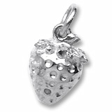 14K White Gold Strawberry Charm by Rembrandt Charms