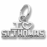14K White Gold I Love St. Thomas Charm by Rembrandt Charms