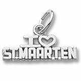 14K White Gold I Love St. Maarten Charm by Rembrandt Charms