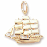 Gold Plate Full Rigged Ship Charm by Rembrandt Charms