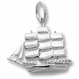 14K White Gold Full Rigged Ship Charm by Rembrandt Charms