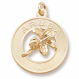 10K Gold Aruba Hibiscus Ring Charm by Rembrandt Charms