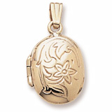 10K Gold Flower Oval Locket Pendant by Rembrandt Charms