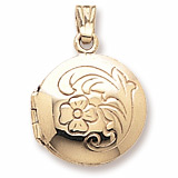 14K Gold Flower Circle Locket Pendant by Rembrandt Charms