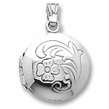 Sterling Silver Flower Circle Locket Pendant by Rembrandt Charms