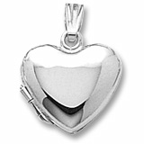 14K White Gold Heart Locket Pendant by Rembrandt Charms