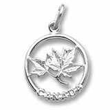 14K White Gold Canada Maple Leaf Charm by Rembrandt Charms