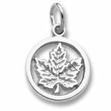 14K White Gold Ringed Maple Leaf Accent Charm by Rembrandt Charms