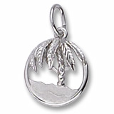 14K White Gold Beach and Palm Tree Charm by Rembrandt Charms