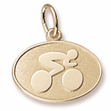 10K Gold Cyclist Oval Disc Charm by Rembrandt Charms