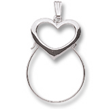 14K White Gold Heart Charm Holder by Rembrandt Charms
