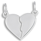 Sterling Silver Breaks Apart Heart Charm by Rembrandt Charms