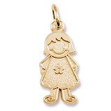 Gold Plate Girl in Flower Dress Charm by Rembrandt Charms