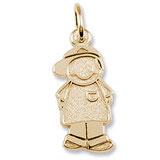 Gold Plate Boy in Ball Cap Charm by Rembrandt Charms