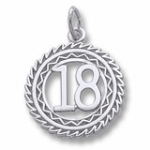 14K White Gold Number 18 Charm by Rembrandt Charms
