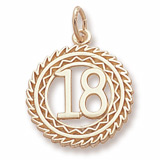 14K Gold Number 18 Charm by Rembrandt Charms