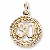 10K Gold Number 30 Charm by Rembrandt Charms