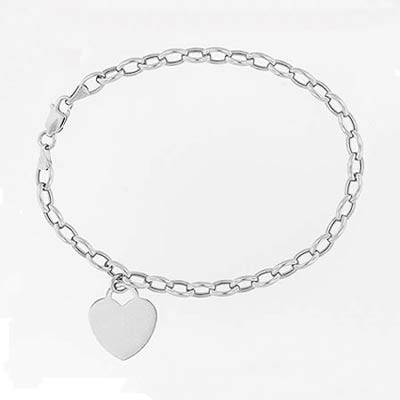 14k White Gold Charm Bracelet with Hearts 5.0mm, 7 1/2 inches