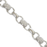 Sterling Silver CZ Charm Bracelet Width 9.5mm 8 inches
