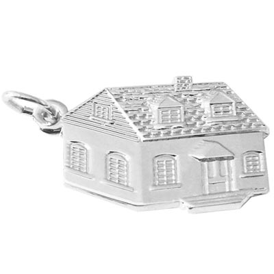 14K White Gold Colonial House Charm by Rembrandt Charms