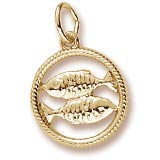 Gold Plated Pisces Zodiac Charm by Rembrandt Charms