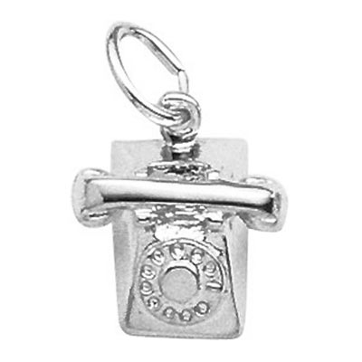 14K White Gold Rotary Phone Charm by Rembrandt Charms