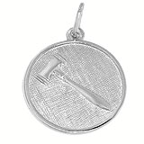 14K White Gold Gavel Disc Charm by Rembrandt Charms