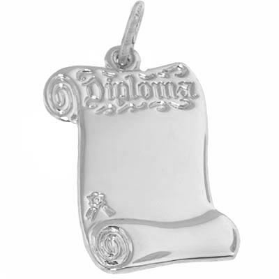 14k White Gold Graduation Diploma Charm by Rembrandt Charms