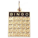 Gold Plate Bingo Card Charm by Rembrandt Charms