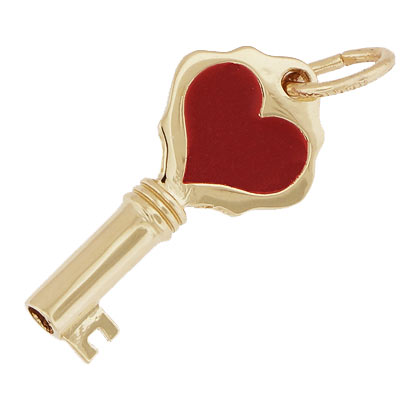 14k Gold Key with Red Heart Charm by Rembrandt Charms