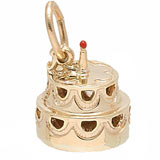 Gold Plate Hollow Two-Tier Cake Charm by Rembrandt Charms