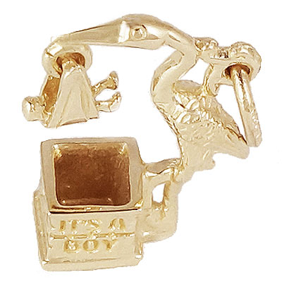 14k Gold Stork It's a Boy Charm by Rembrandt Charms
