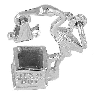 Sterling Silver Stork It's a Boy Charm by Rembrandt Charms
