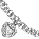"Sterling Silver 8"" Heart Charm Bracelet with Cubic Zirconia's"