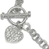 Sterling Silver Charm Bracelet CZ & Hearts Width 6mm 7 inches
